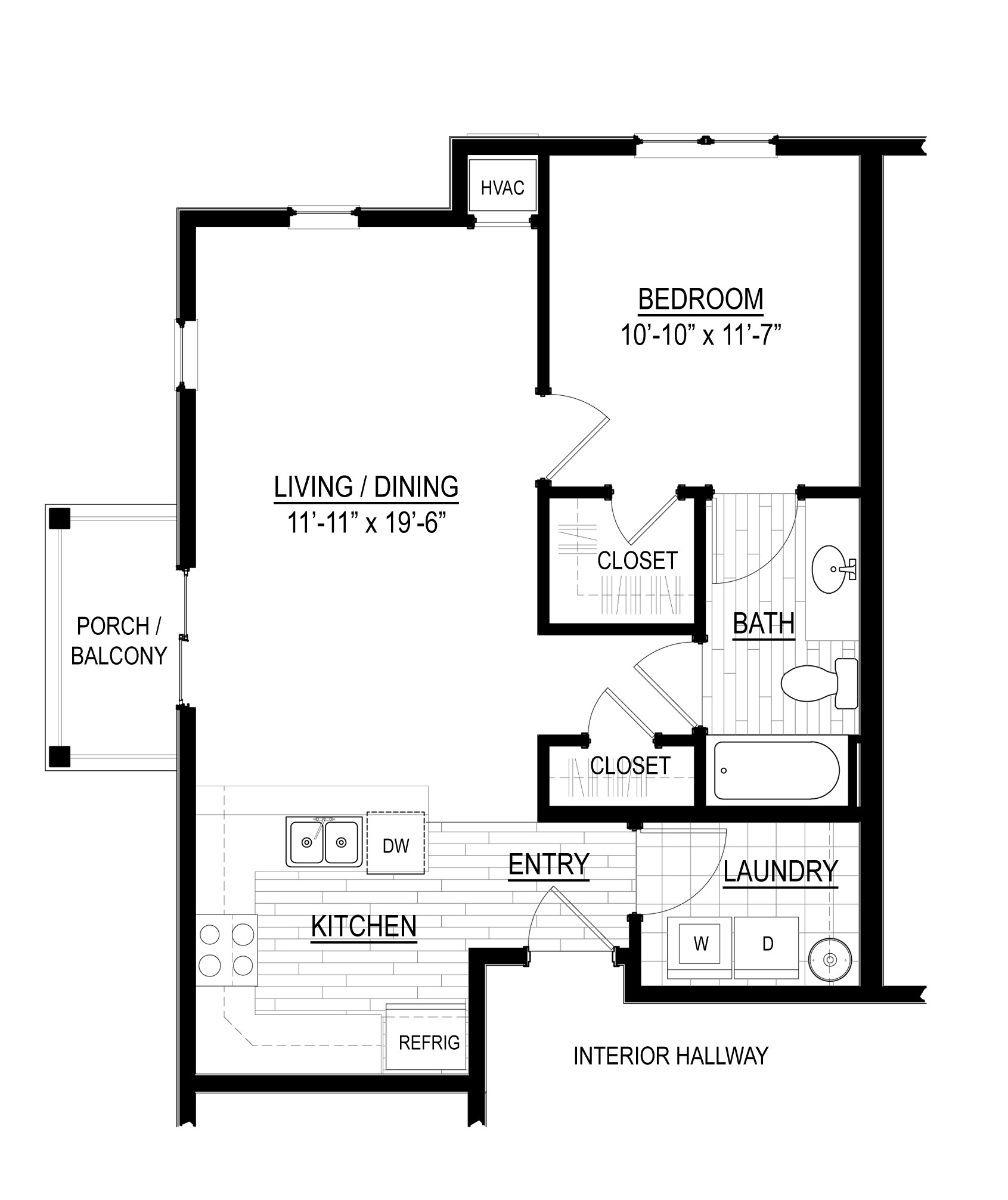 Bloomsdale one-bedroom corner floor plan at Verde Apartments