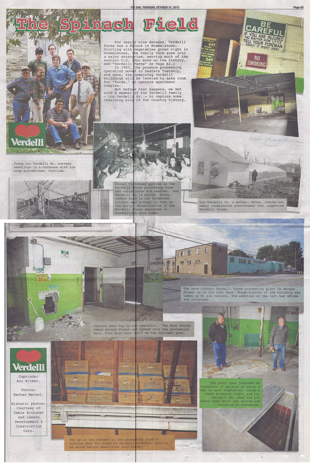 Images of Verdelli Farms in a newspaper clipping