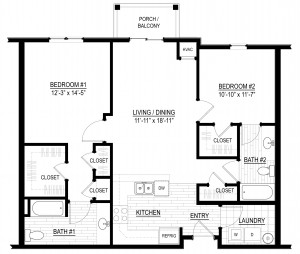 Olympia two-bedroom floor plan at Verde Apartments