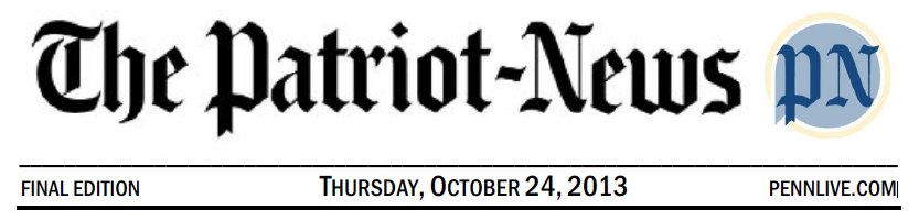 Image of the Patriot News title heading with the date