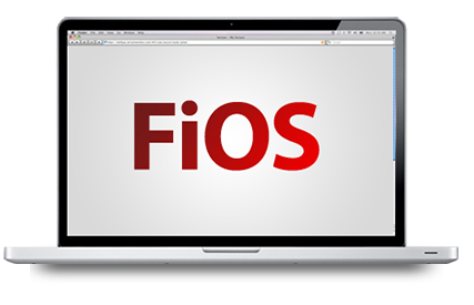Laptop with FIOS logo on the screen