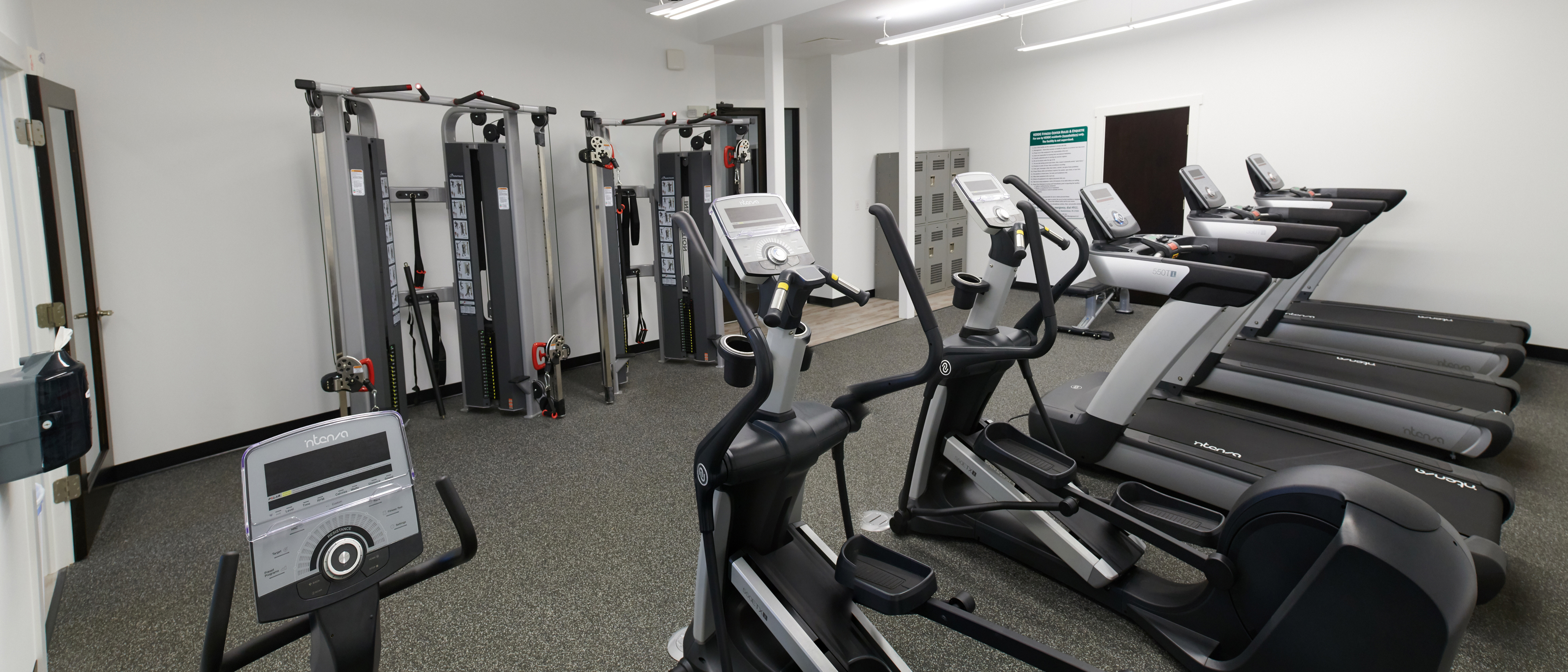 Fitness room with three treadmills, two ellipticals, and two cable machines.